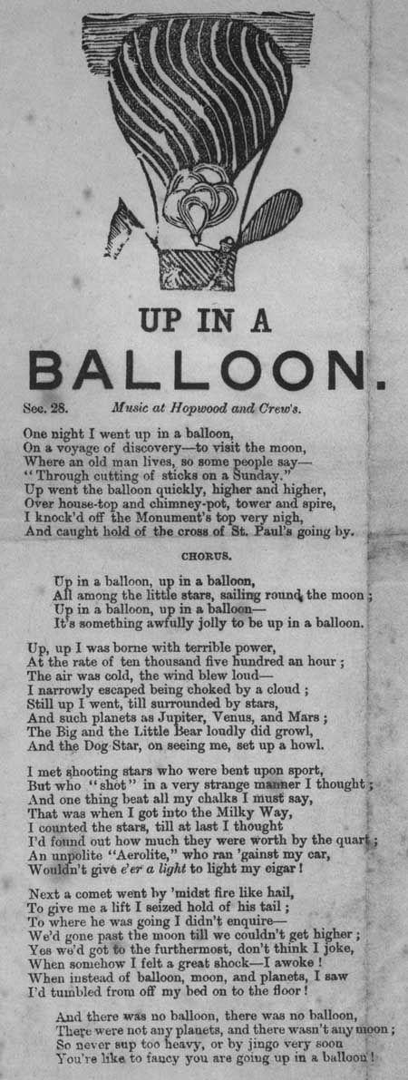 Broadside ballad entitled 'Up In A Balloon'