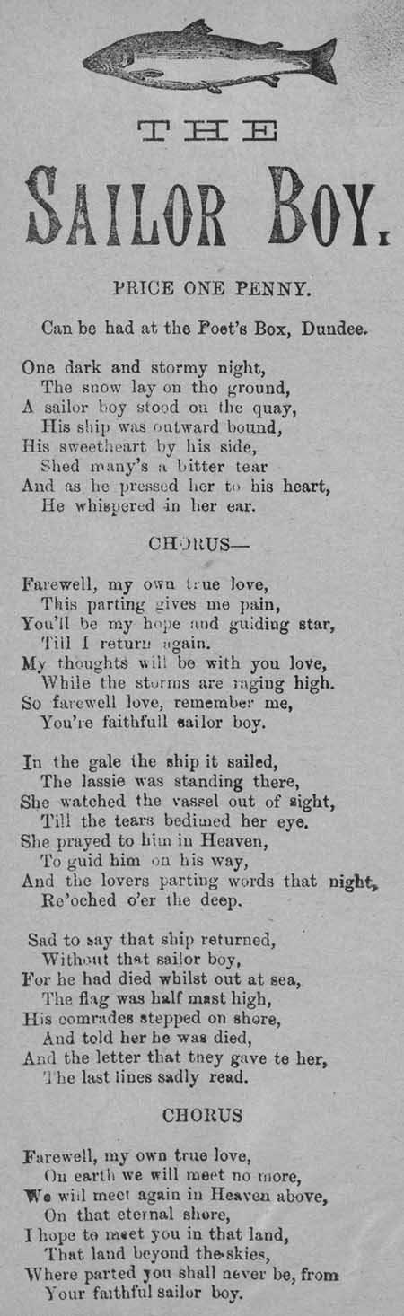 Broadside ballad entitled 'The Sailor Boy'