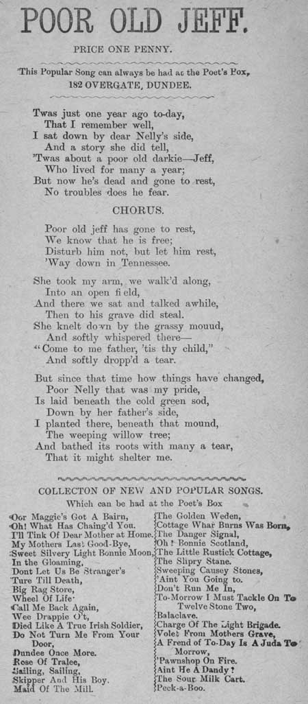 Broadside ballad entitled 'Poor Old Jeff'