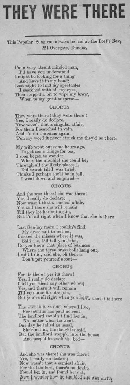 Broadside ballad entitled 'They Were There'