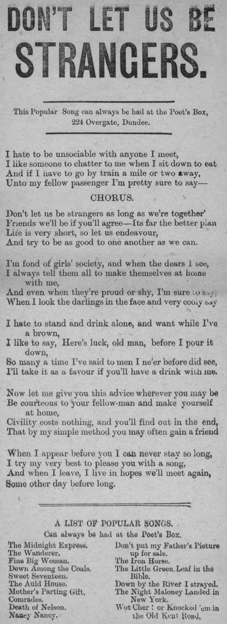 Broadside ballad entitled 'Don't Let Us Be Strangers'