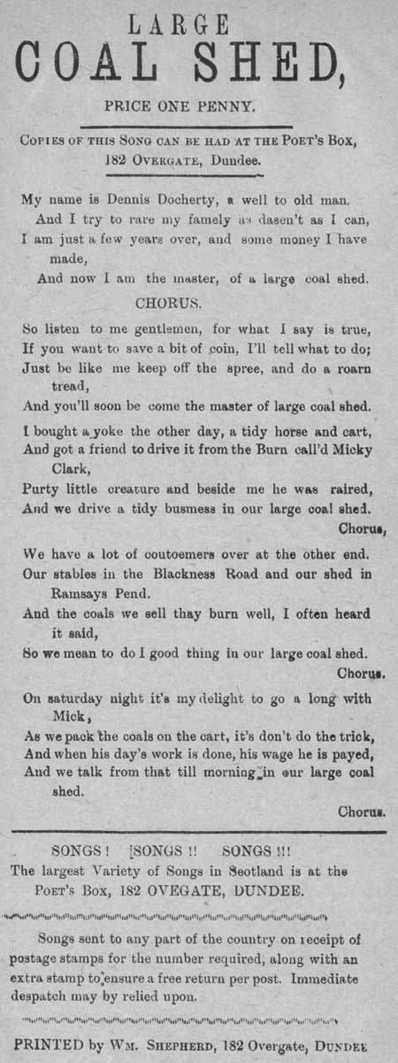 Broadside ballad entitled 'Large Coal Shed'