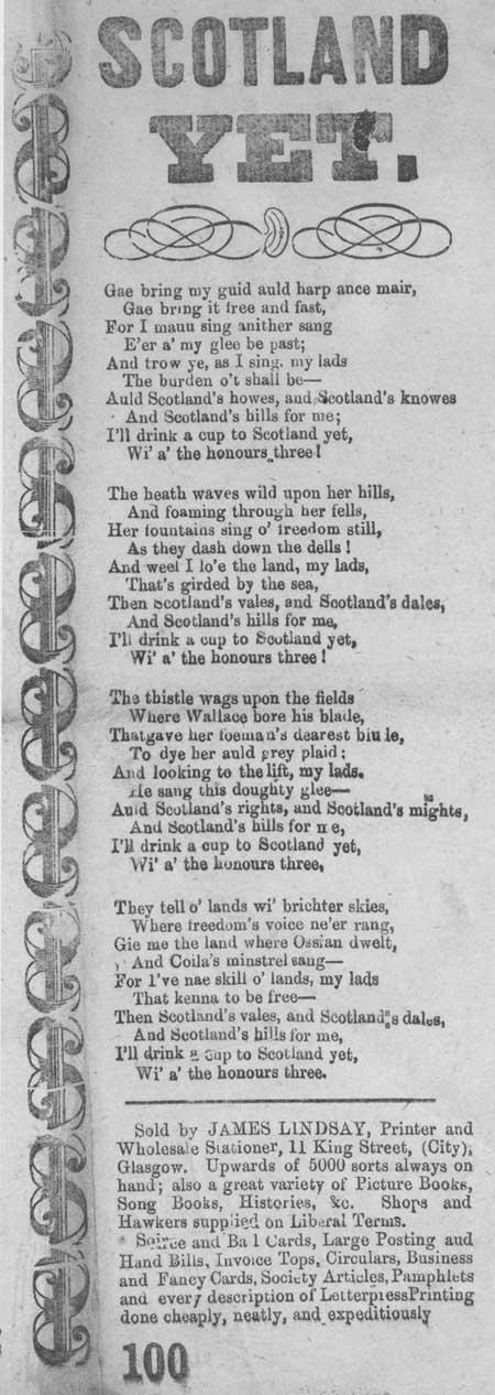 Broadside ballad entitled 'Scotland Yet'