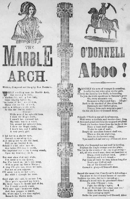 Broadside ballads entitled 'The Marble Arch' and 'O'Donnell Aboo'