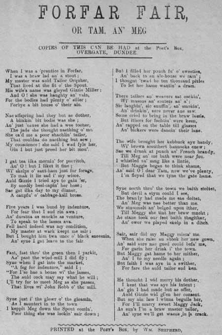 Broadside ballad entitled 'Forfar Fair'