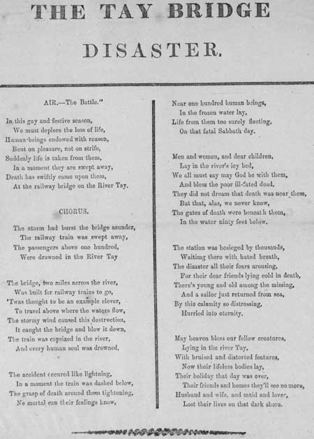 Broadside ballad entitled 'The Tay Bridge Disaster'