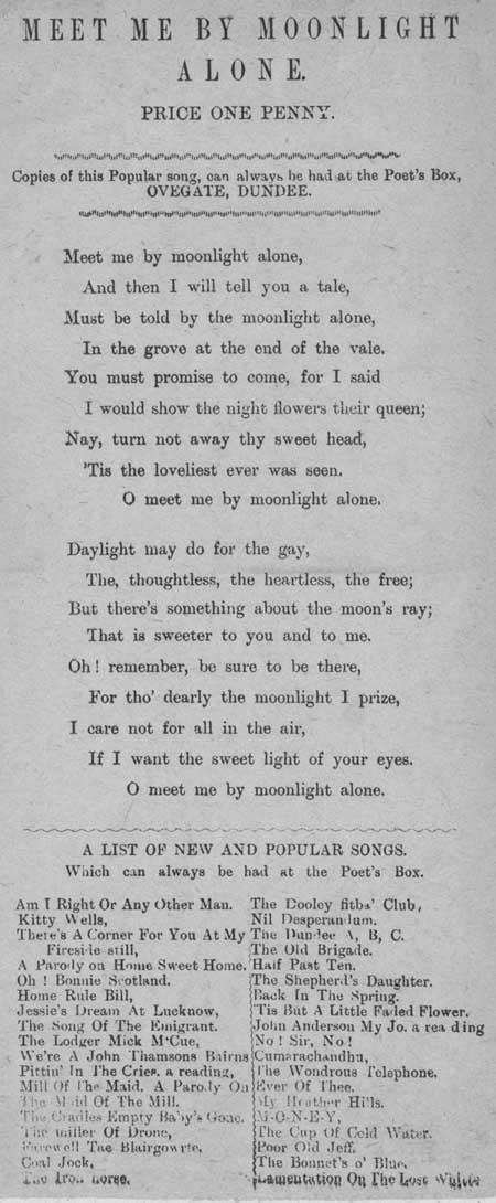 Broadside ballad entitled 'Meet Me by Moonlight Alone'