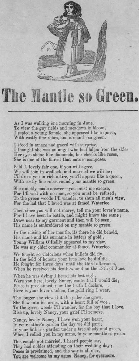 Broadside ballad entitled 'The Mantle so Green'