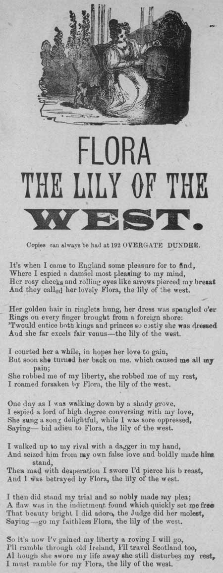 Broadside ballad entitled 'Flora the Lily of the West'