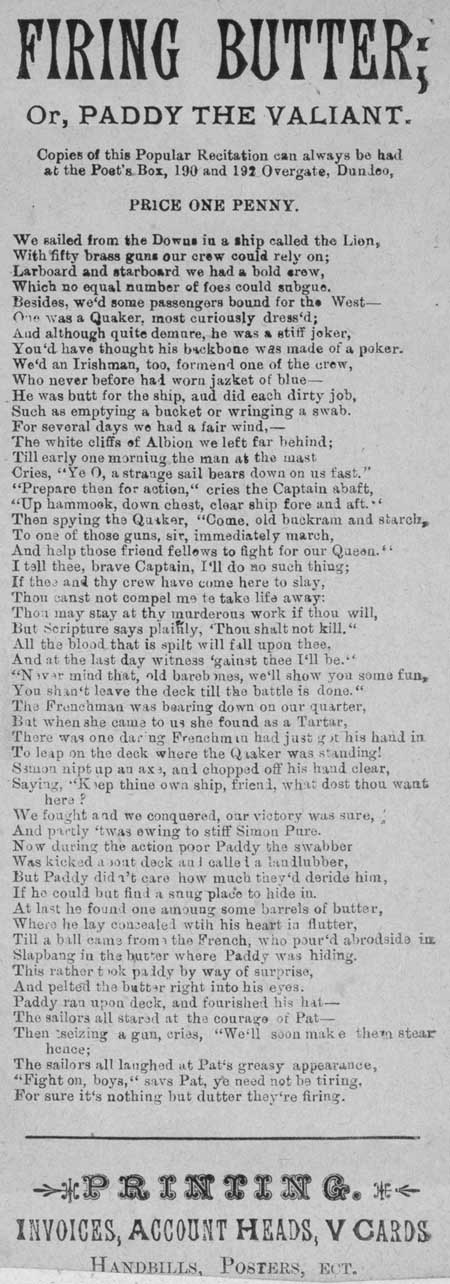 Broadside ballad entitled 'Firing Butter; or, Paddy the Valiant'