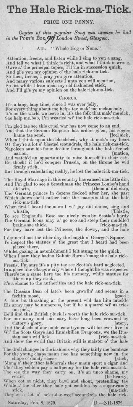 Broadside ballad entitled 'The Hale Rick-Ma-Tick'