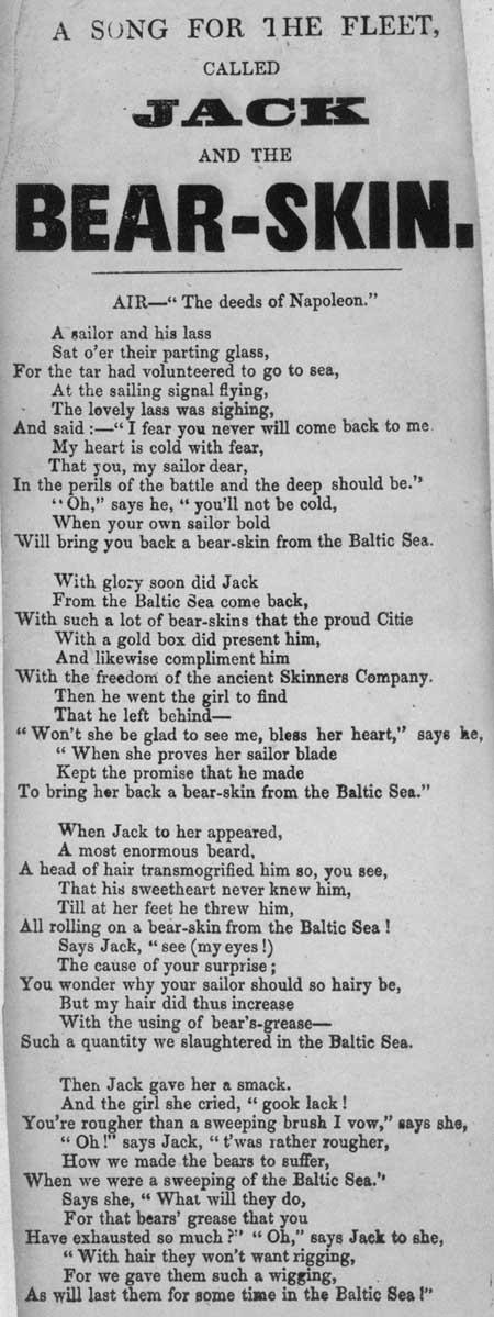 Broadside ballad entitled 'Jack and the Bear-skin'