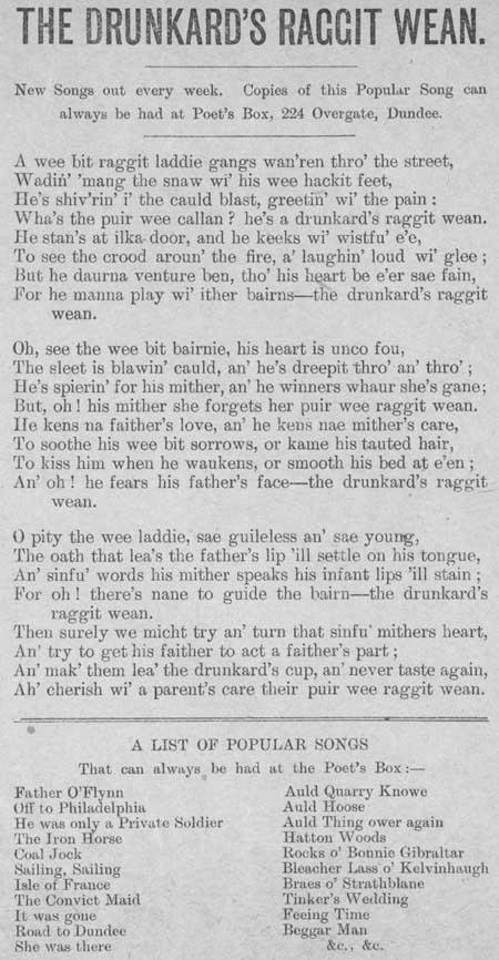 Broadside ballad entitled 'The Drunkard's Raggit Wean'
