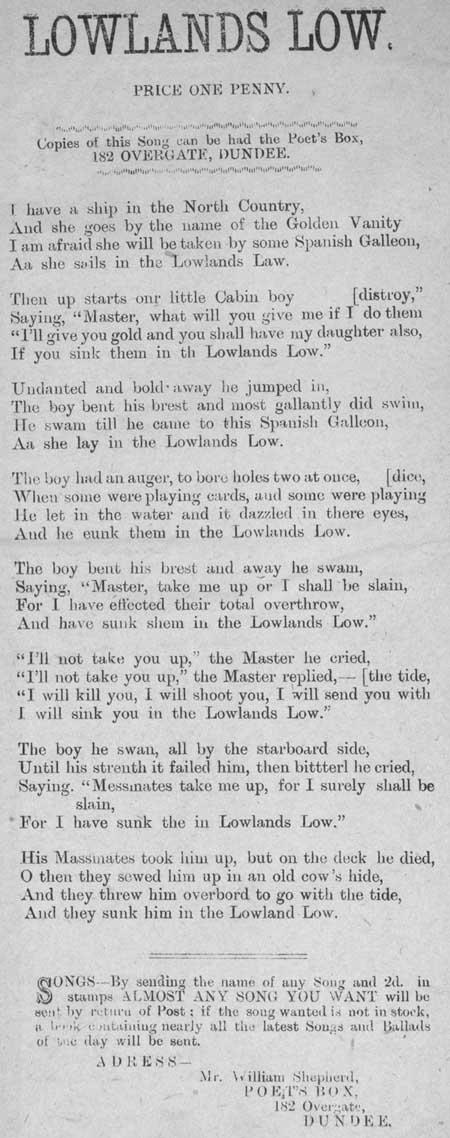 Broadside ballad entitled 'Lowlands Low'