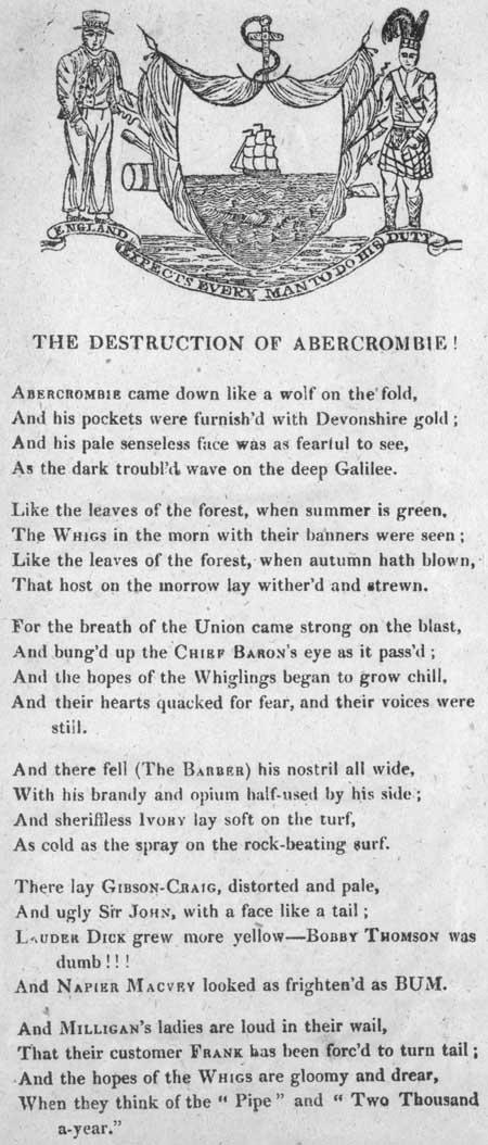 Broadside ballad entitled 'The Destruction of Abercrombie!'