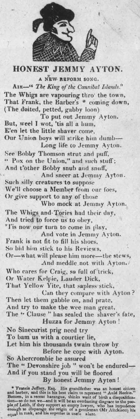 Broadside ballad entitled 'Honest Jemmy Ayton'