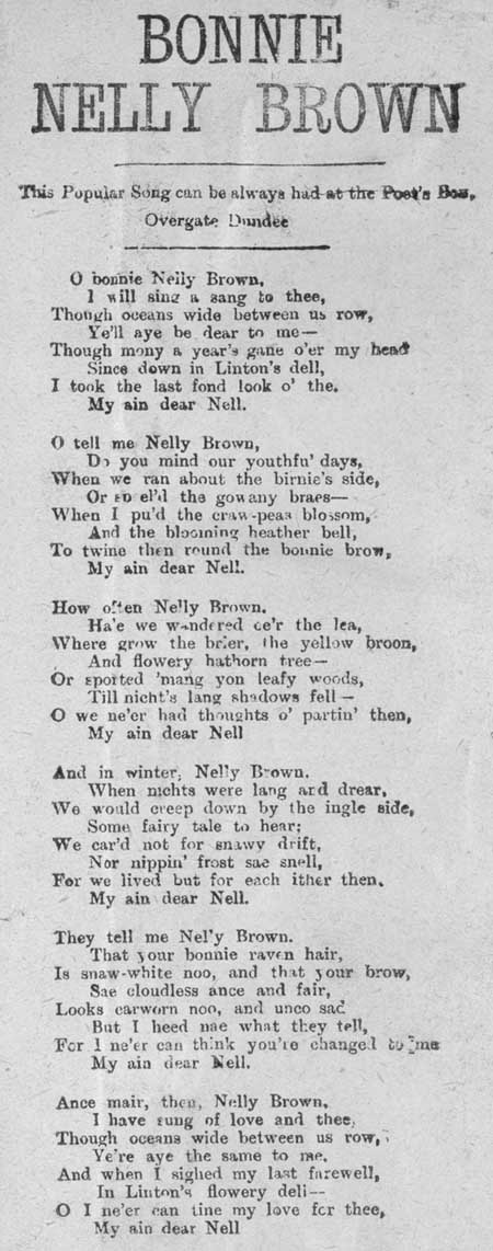 Broadside ballad entitled 'Bonnie Nelly Brown'