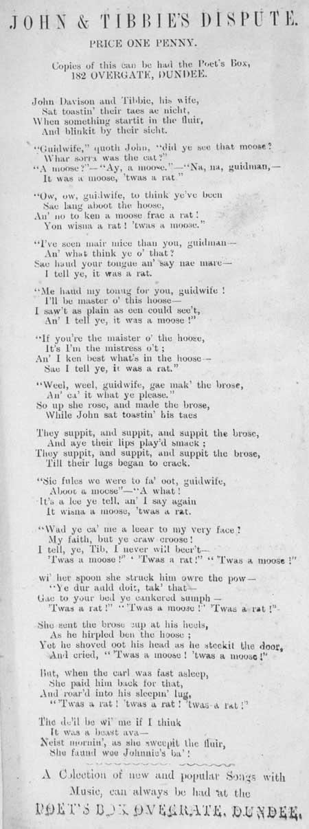 Broadside ballad entitled 'John and Tibbie's Dispute'