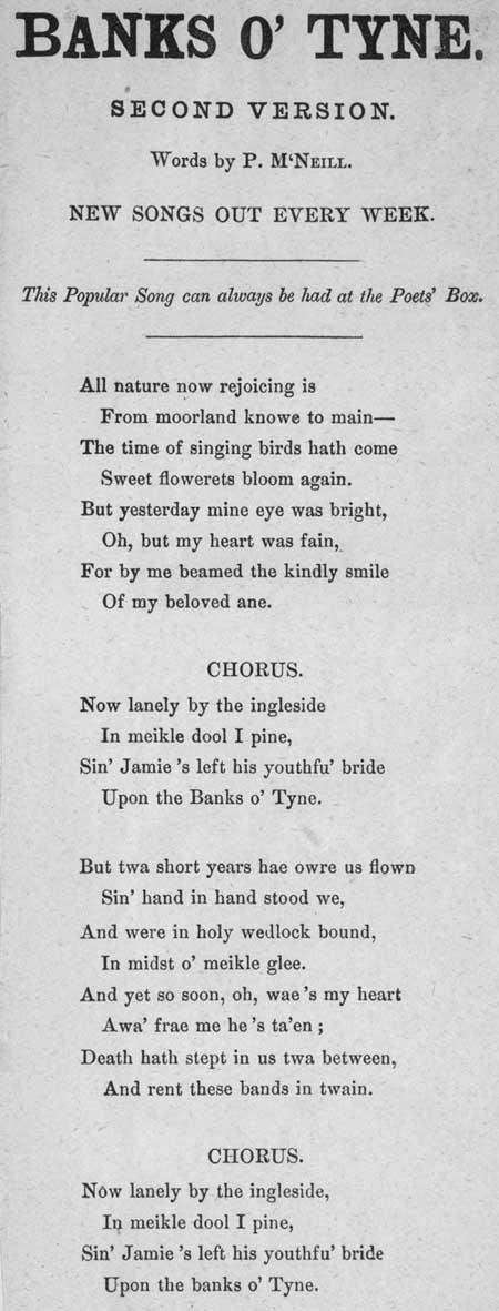 Broadside ballad entitled 'Banks O' Tyne'