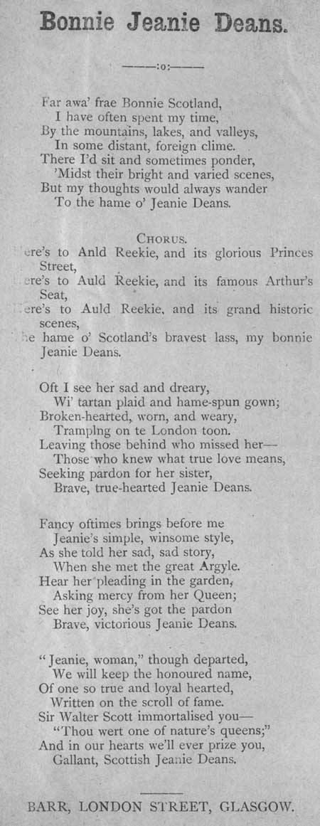 Broadside ballad entitled 'Bonnie Jeanie Deans'