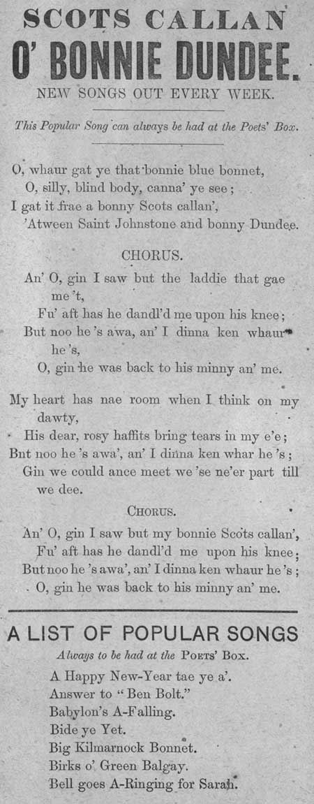 Broadside ballad entitled 'Scots Callan O' Bonnie Dundee'