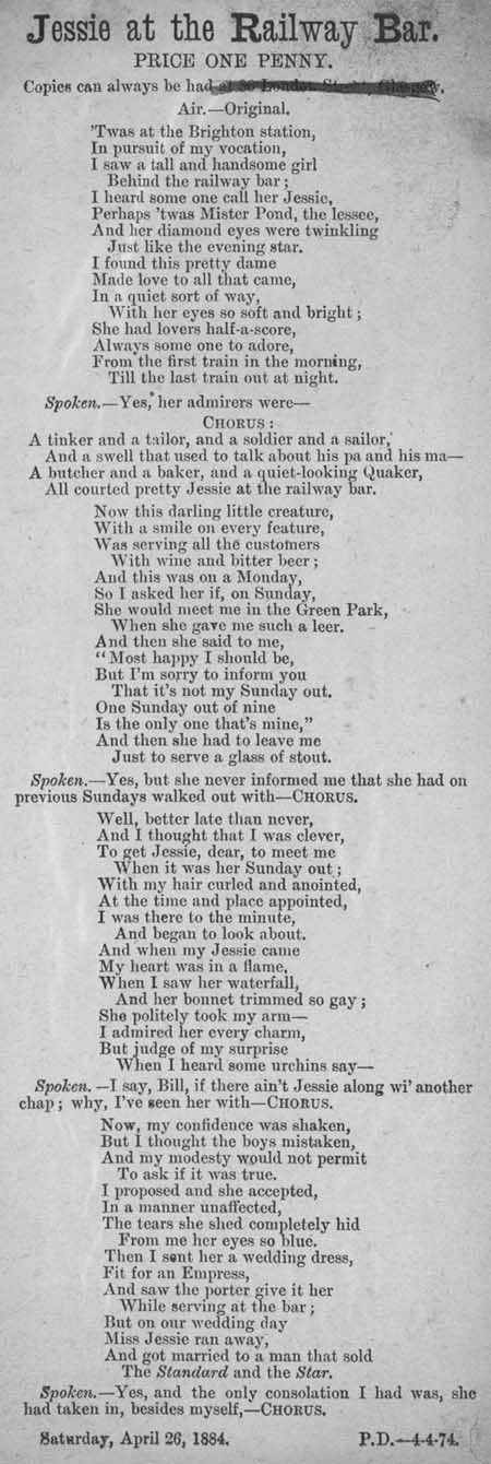 Broadside ballad entitled 'Jessie at the Railway Bar'