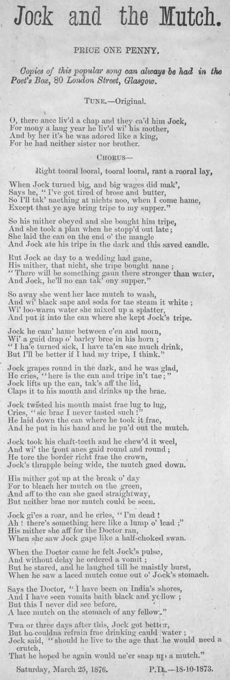Broadside ballad entitled 'Jock and the Mutch'