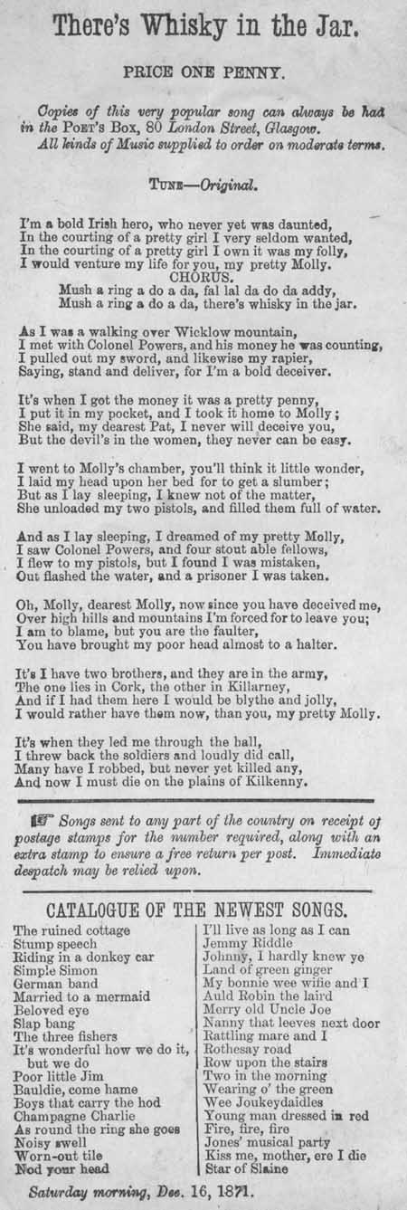 Broadside ballad entitled 'There's Whisky in the Jar'