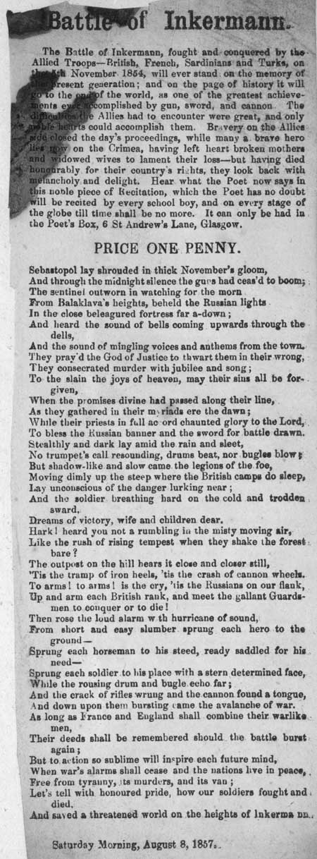 Broadside ballad entitled 'Battle of Inkermann'