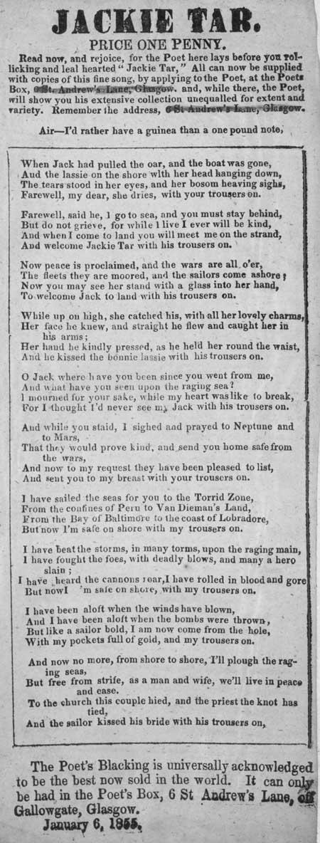 Broadside ballad entitled 'Jackie Tar'