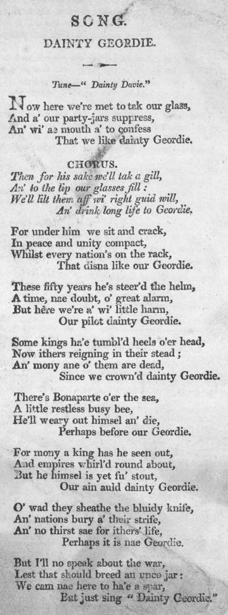 Broadside ballad entitled 'Dainty Geordie'