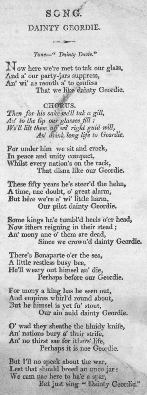Broadside ballad entitled 'Dainty Geordie'