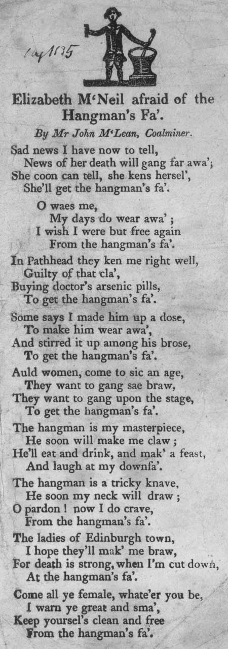Broadside ballad entitled 'Elizabeth M'Neil Afraid of the Hangman's Fa''