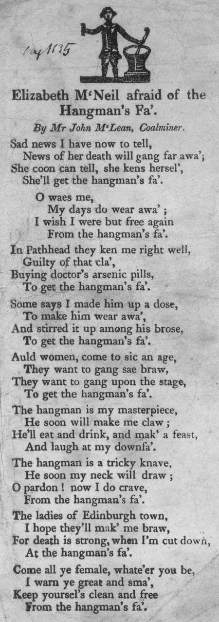 Broadside ballad entitled 'Elizabeth M'Neil Afraid of the Hangman's Fa''