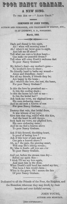 Broadside ballad entitled 'Poor Nancy Young'