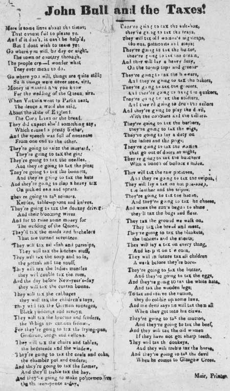Broadside ballad entitled 'John Bull and the Taxes!'