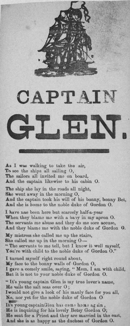 Broadside ballad entitled 'Captain Glen'