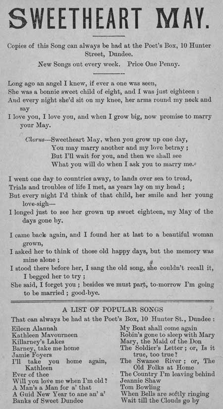 Broadside ballad entitled 'Sweetheart May'