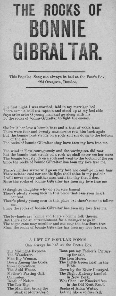 Broadside ballad entitled 'The Rocks of Bonnie Gibraltar'
