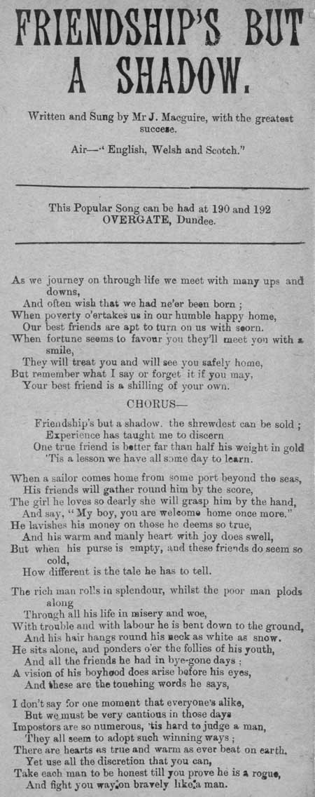 Broadside ballad entitled 'Friendship's But A Shadow'