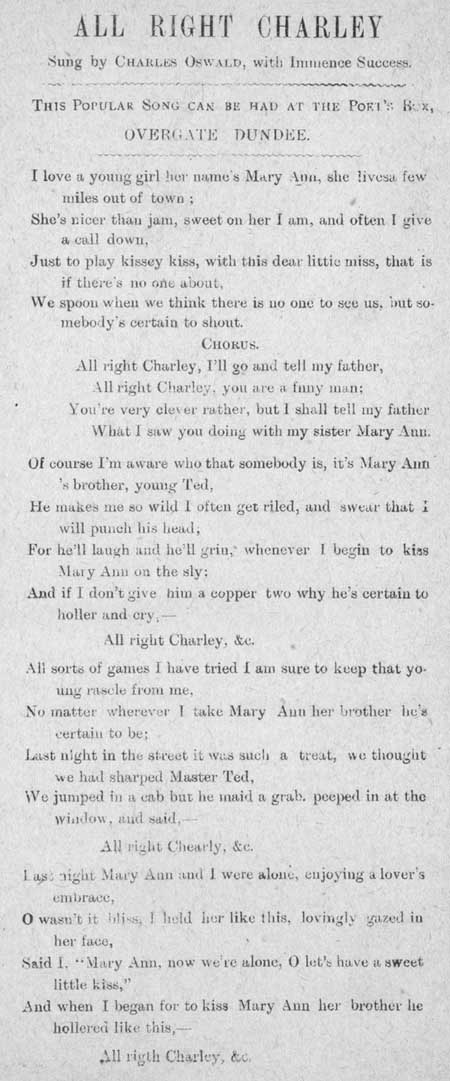 Broadside ballad entitled 'All Right Charley'