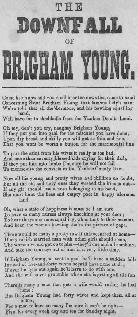 Broadside ballad entitled 'The Downfall of Brigham Young'