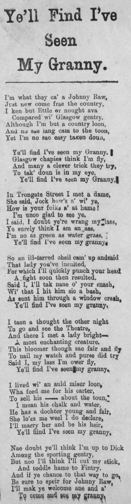 Broadside ballad entitled 'Ye'll Find I've Seen My Granny'