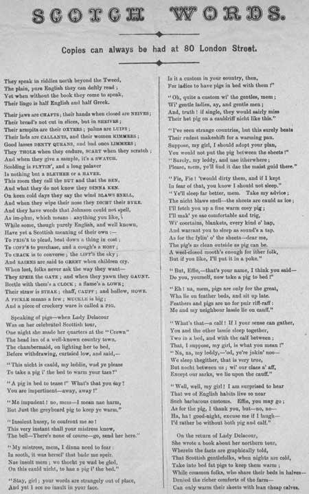 Broadside ballad entitled 'Scotch Words'