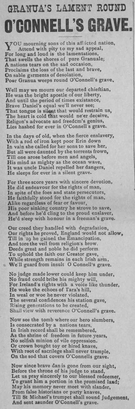 Broadside ballad entitled 'Granua's Lament Round O'Connell's Grave'