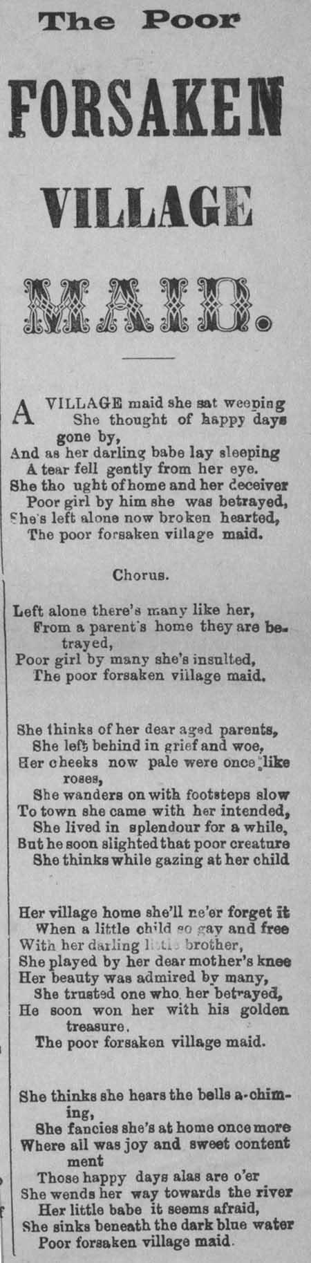 Broadside ballad entitled 'The Poor Forsaken Village Maid'