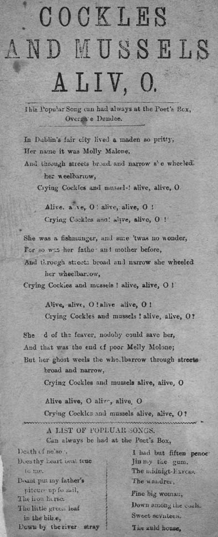 Broadside ballad entitled 'Cockles and Mussels. Aliv, O'