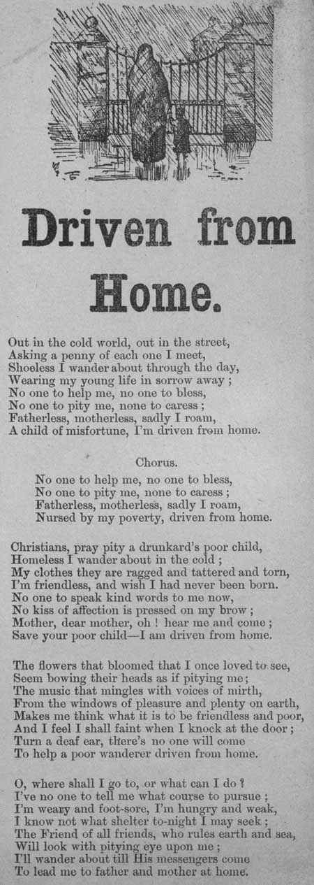Broadside ballad entitled 'Driven from Home'