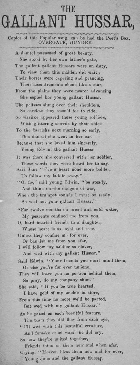 Broadside ballad entitled 'The Gallant Hussar'