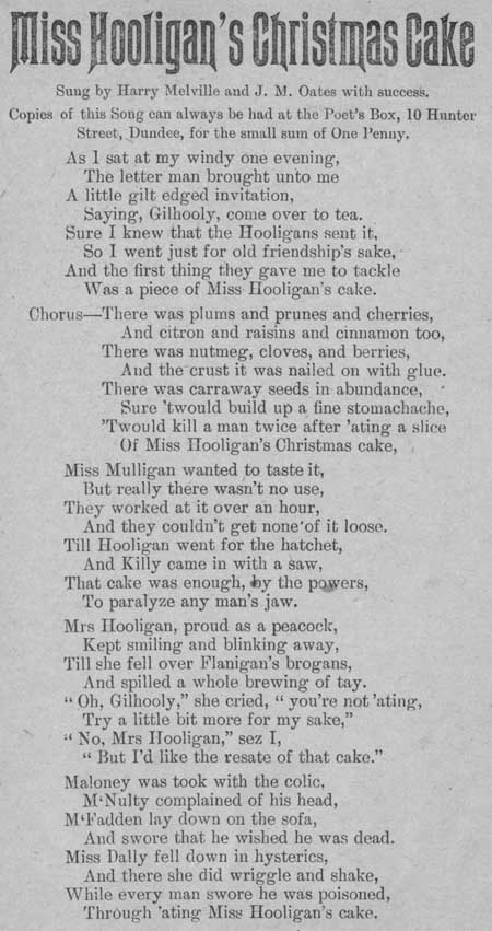 Broadside ballad entitled 'Miss Hooligan's Christmas Cake'